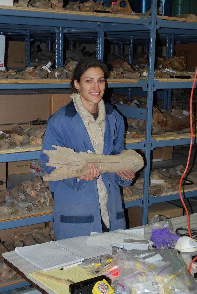 Jessica Metcalfe with mammoth bone